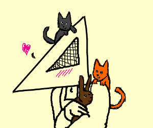 pyramid guy staels cats and brown bunnys