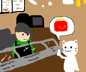 Cat order an happy meal at Subway