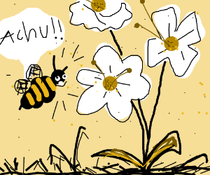 Bee has allergy to flowers