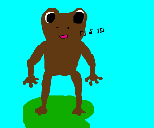 Brown Frog-like humanoid thing singing