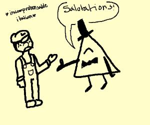 Luigi meets Bill Cipher