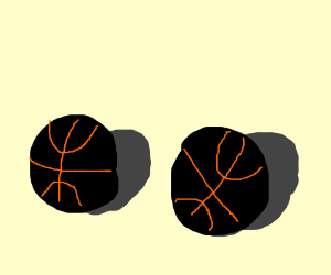 Two black basketballs.