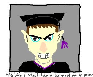 Waluigi's high school graduation photo