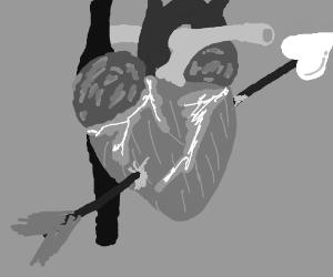 real heart w/ cupid's arrow