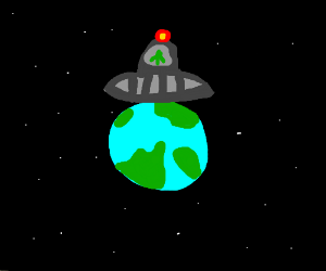 A UFO in front of the Earth