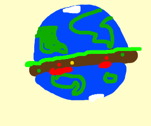 the earth is a burger (poop inside)