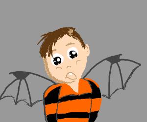 Little kid has bat wings