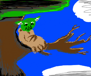 Yoda sitting in a tree