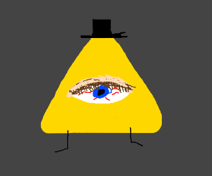 Bill Cipher, except his eye is super realistic