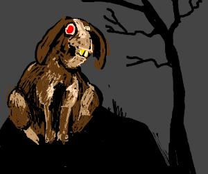 Frankenstein's Rabbit Monster on a hill