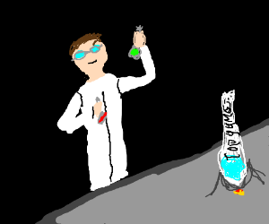 Mad scientist making Formula for Topgame