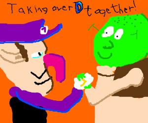 Waluigi and Shrek taking over drawception.