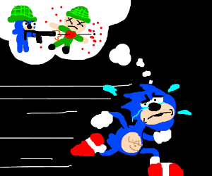 Sonic can't outrun his warcrimes