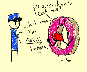 donut wearing boxing gloves begs for its life