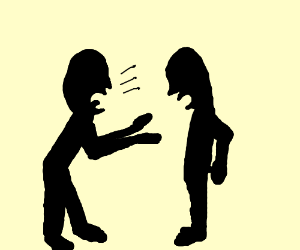 Two silhouettes having an argument