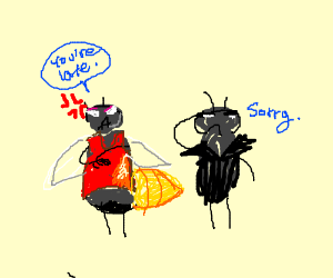 Lightning bug is mad about late date