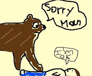 Bear accidentally steps on man.