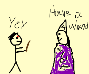 Stickman gets wand from wizard