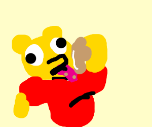 Winnie Pooh eats honey