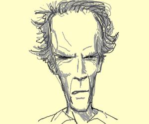 Clint Eastwood stares menacingly