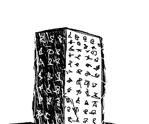 Black monolith with mysterious markings.