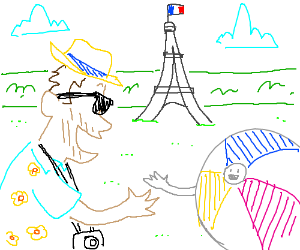 Tourist and happy beach ball meet in Paris.