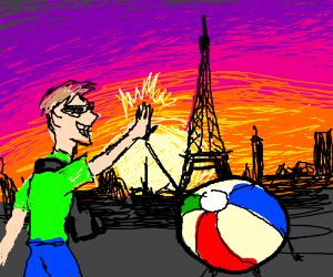 Tourist and beach ball high five in Paris