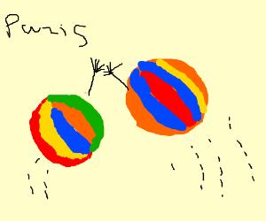 High-fiving beach ball in Paris