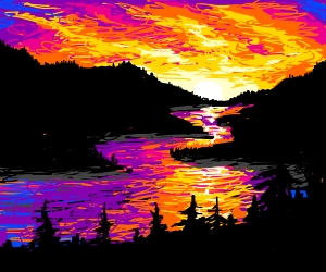 Sunset on a river (really good painting)