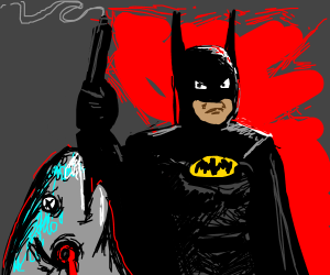 Batman shoots a fish