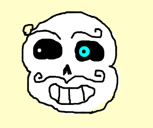 Skeleton with curly eyebrows and moustache.