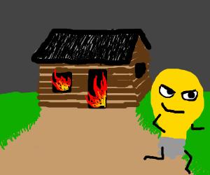 Evil lightbulb burns down a log cabin.