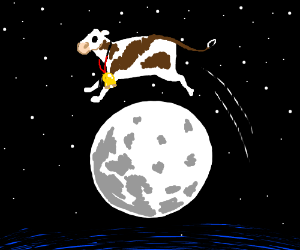 e.g., A cow jumping over the moon