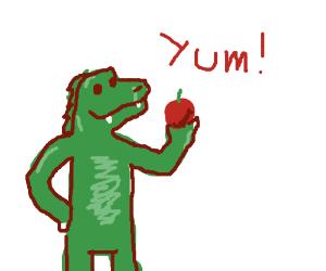 Humanoid godzilla loves apples