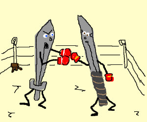 Two swords have a boxing match