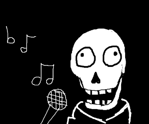 a skeleton singing