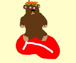 Bear sitting on rare steak with nachos on head