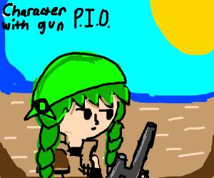 character with gun PIO (half-erased pikachu)
