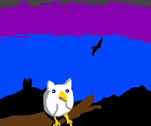 white owl sits on log in twilight.