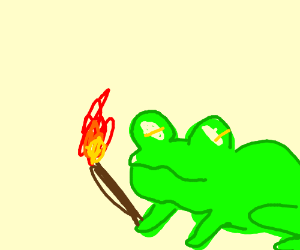 Angry green frog with torch