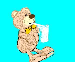 A bear w/ a bow tie, sipping a milkshake