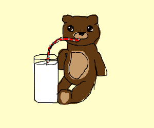 Teddy Bear drinking milk