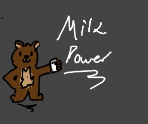 Bear drinks milk