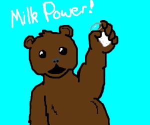 """Bear holds milk as he says """"Milk Power!"""""""