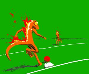 Fire lizards play kick ball