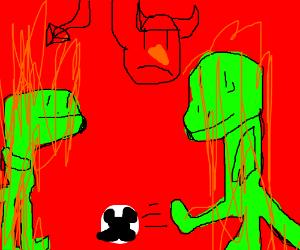 Burning salamanders play soccer in Hell