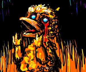 Demonic Big bird cries blood