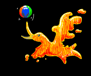A phoenix plays with ball