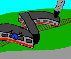 Drawception in a train,guess what its DERAILED