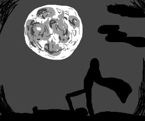 looking at the moon. looks like death scene.